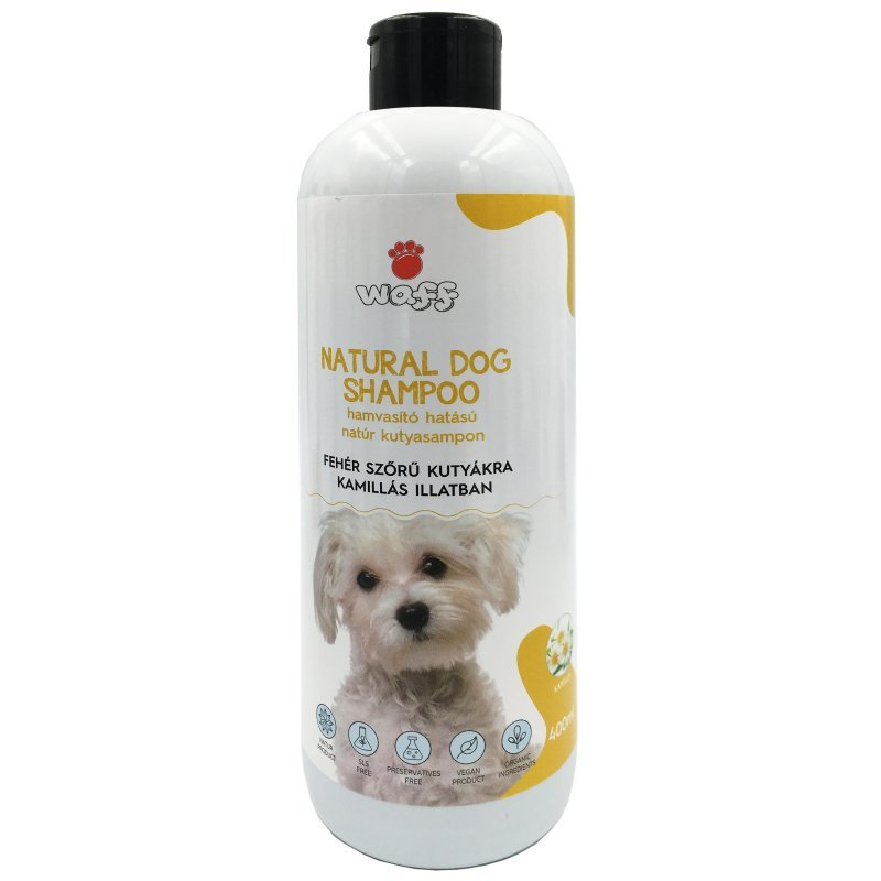 WAFF – Natúr hamvasító kutyasampon, fehér szőrű kutyákra – kamillás illatban