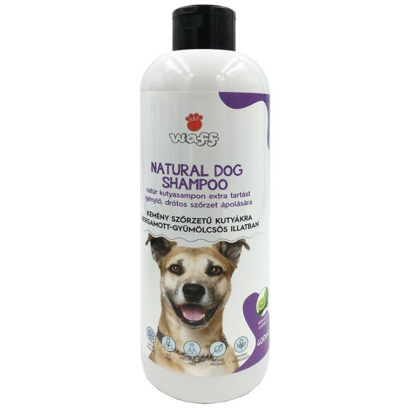WAFF – Natúr kutyasampon extra tartást igénylő, drótos szőrzet ápolására – bermagott gyümölcsös illatban