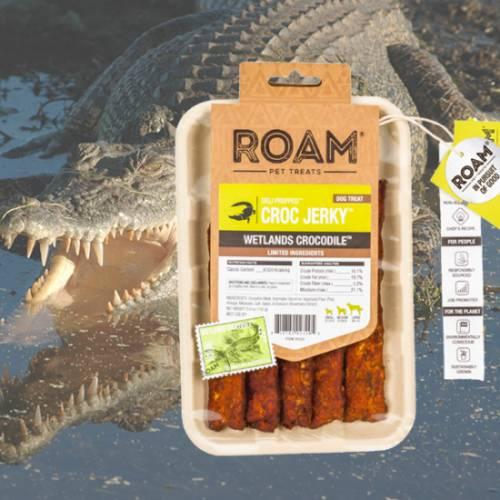 ROAM – Dél-Afrikai szabad tartású krokodil húscsíkok, jutalomfalat allergiás kutyáknak, füstölt