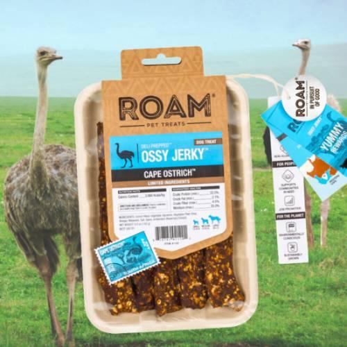 ROAM – Dél-Afrikai szabad tartású strucc húscsíkok, jutalomfalat allergiás kutyáknak