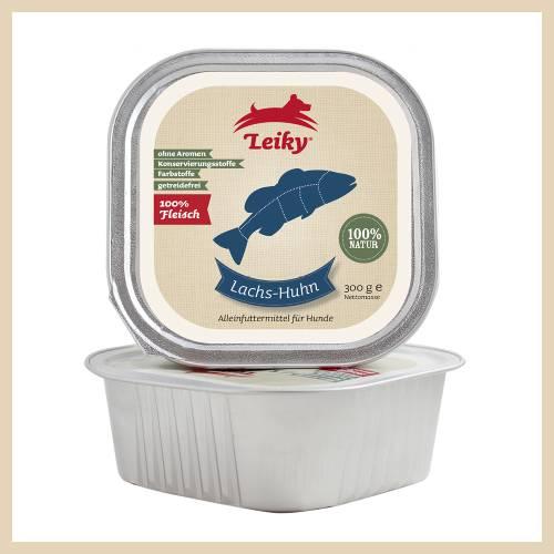 Leiky 100% lazac, csirkehús és belsőségek konzerv kutyáknak, cicáknak 300 gr